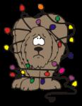 motif seasonal yule dog and lights