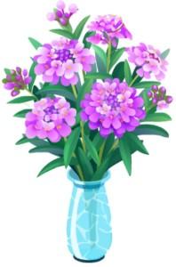 Flower arr PurpTurq vase plant motif