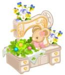 Flower arr Sewing mouse motif