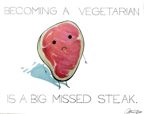 vegetarian missed steak funny