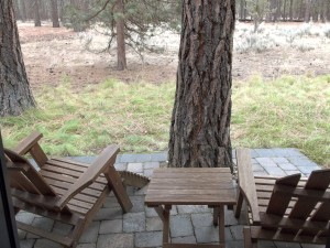 Adirondack chairs on the back patio