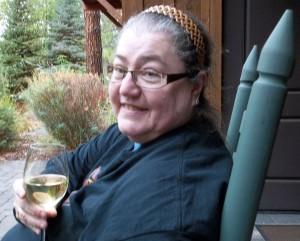 Anja and wine